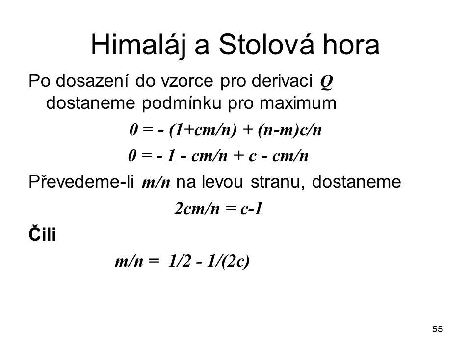 Himaláj a Stolová hora Po dosazení do vzorce pro derivaci Q dostaneme podmínku pro maximum. 0 = - (1+cm/n) + (n-m)c/n.