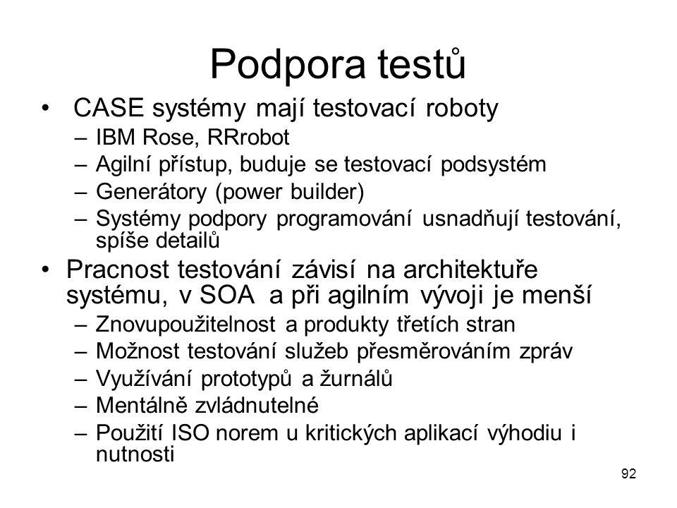 Podpora testů CASE systémy mají testovací roboty