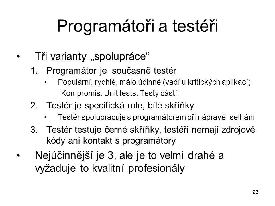 Programátoři a testéři