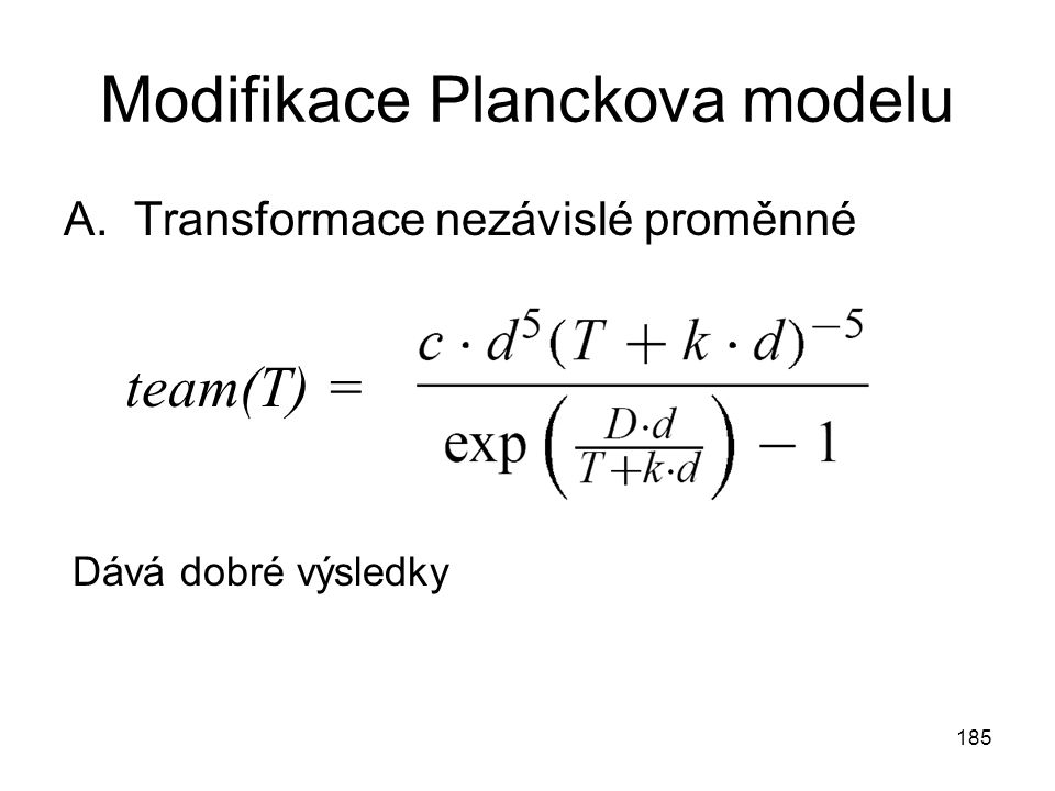 Modifikace Planckova modelu