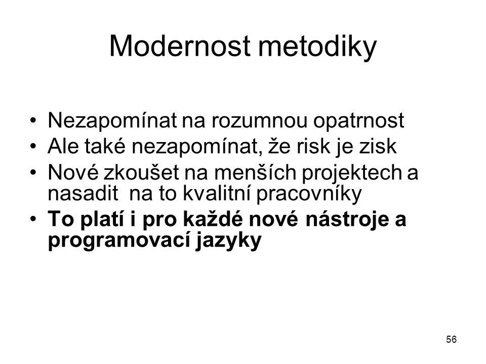 Modernost metodiky Nezapomínat na rozumnou opatrnost