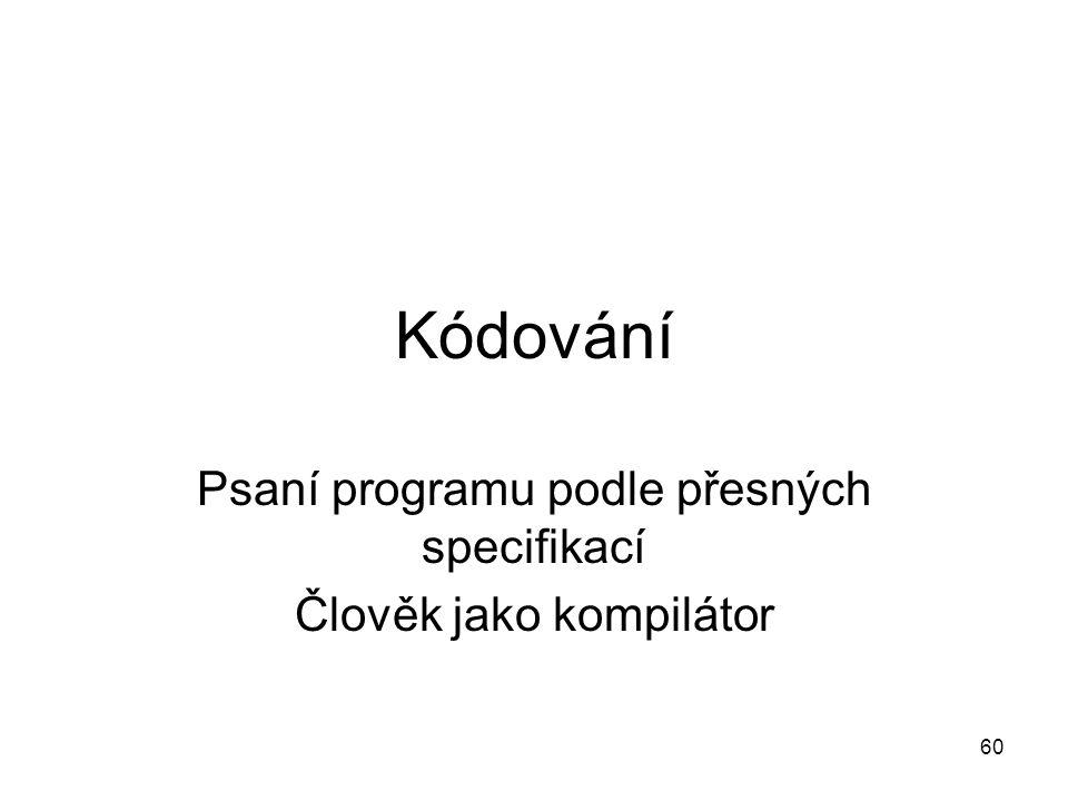 Psaní programu podle přesných specifikací Člověk jako kompilátor
