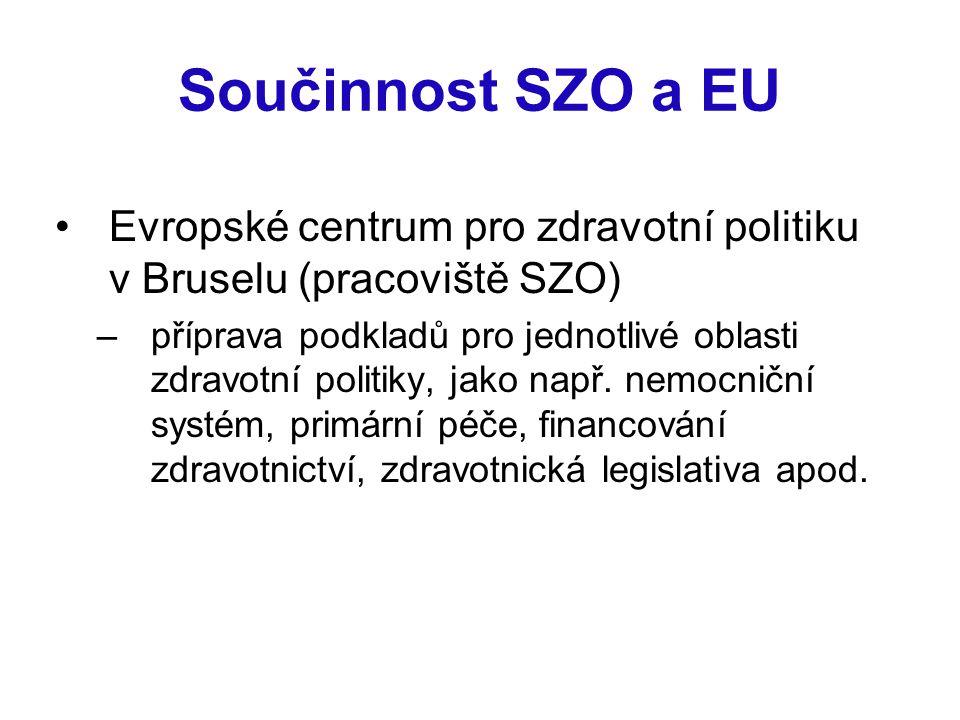 Součinnost SZO a EU Evropské centrum pro zdravotní politiku v Bruselu (pracoviště SZO)