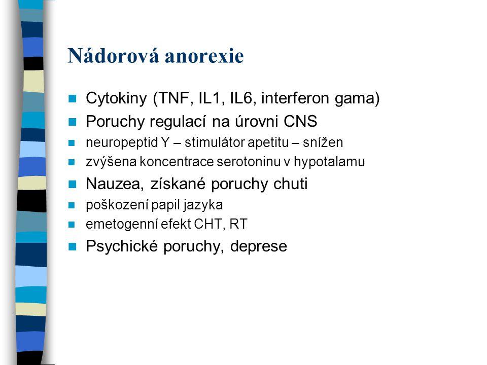 Nádorová anorexie Cytokiny (TNF, IL1, IL6, interferon gama)