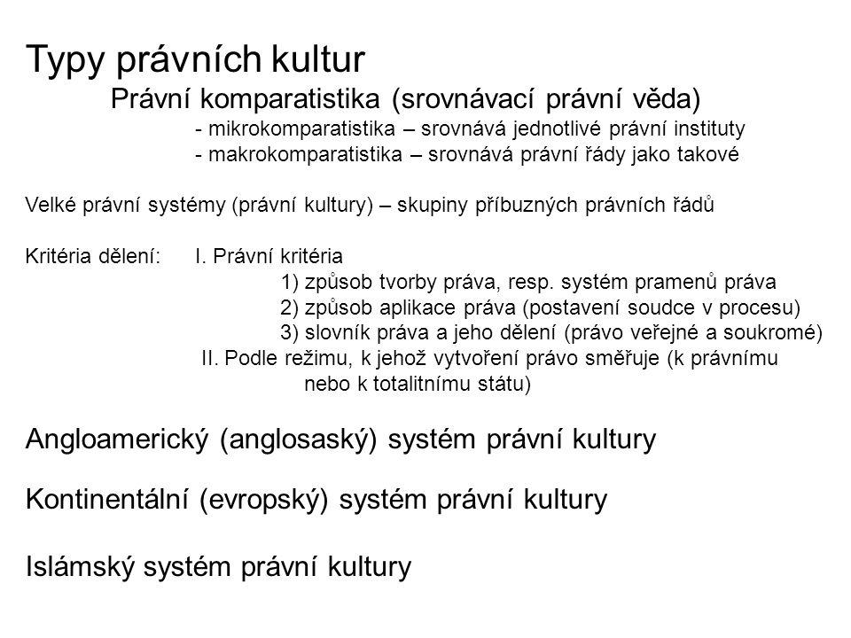 Typy právních kultur Angloamerický (anglosaský) systém právní kultury