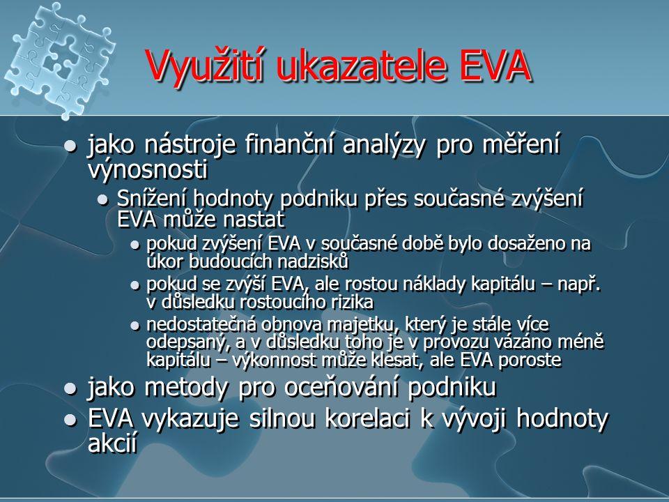 Využití ukazatele EVA jako nástroje finanční analýzy pro měření výnosnosti. Snížení hodnoty podniku přes současné zvýšení EVA může nastat.