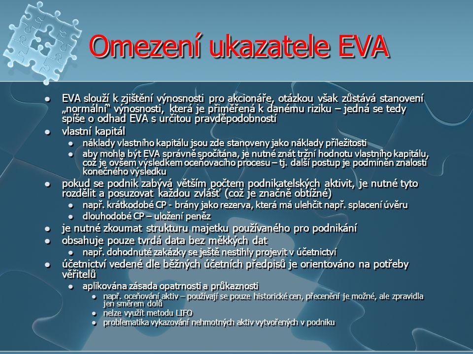 Omezení ukazatele EVA