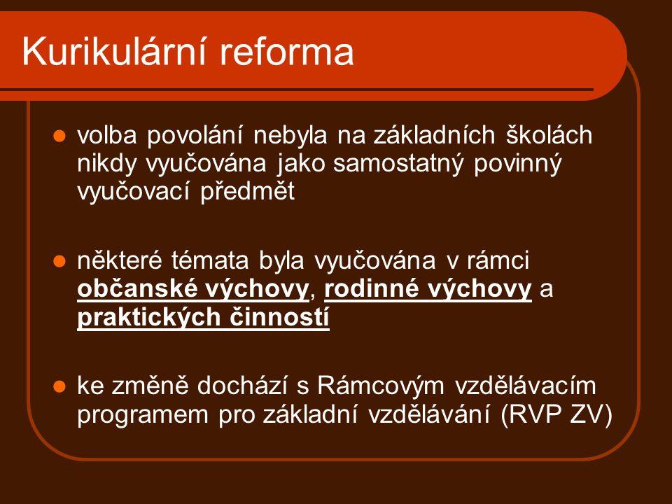 Kurikulární reforma volba povolání nebyla na základních školách nikdy vyučována jako samostatný povinný vyučovací předmět.