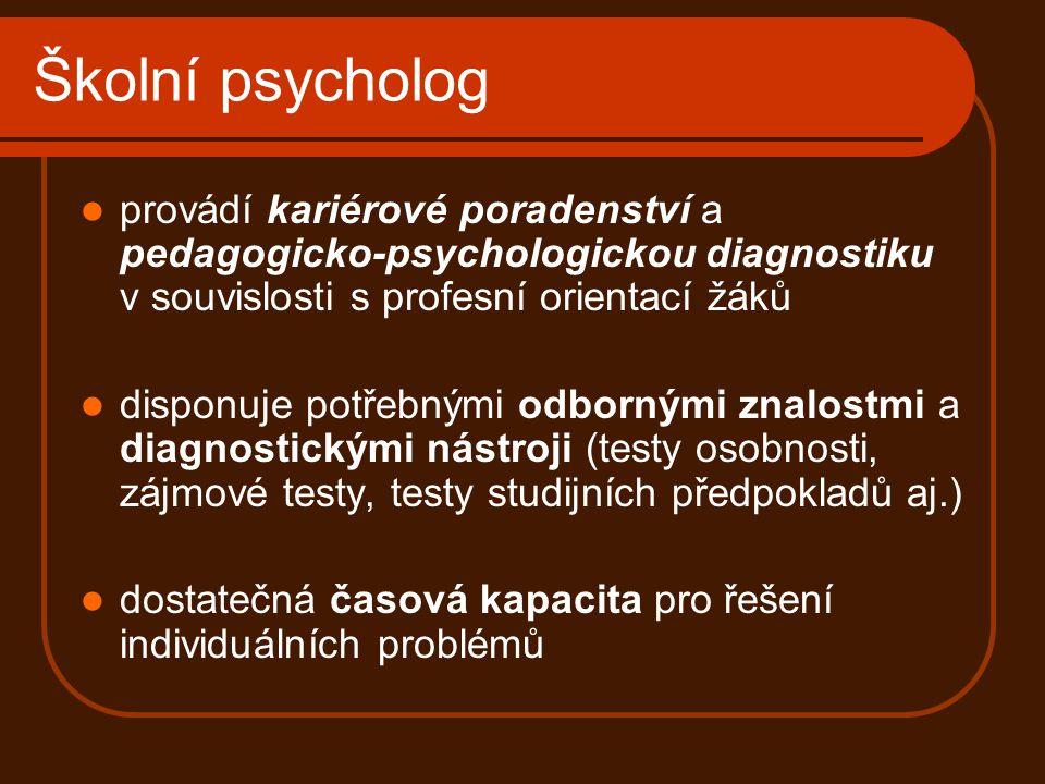Školní psycholog provádí kariérové poradenství a pedagogicko-psychologickou diagnostiku v souvislosti s profesní orientací žáků.