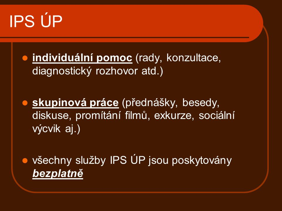 IPS ÚP individuální pomoc (rady, konzultace, diagnostický rozhovor atd.)
