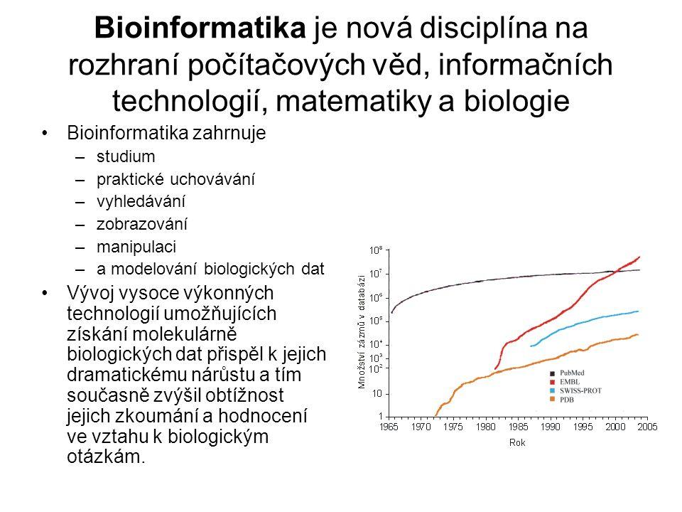 Bioinformatika je nová disciplína na rozhraní počítačových věd, informačních technologií, matematiky a biologie