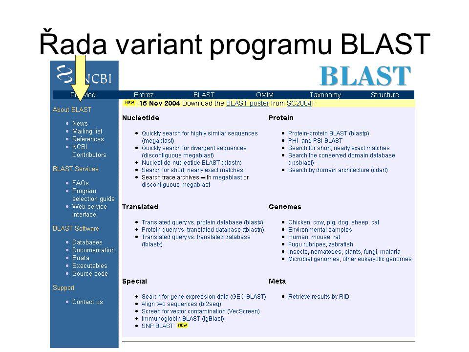 Řada variant programu BLAST