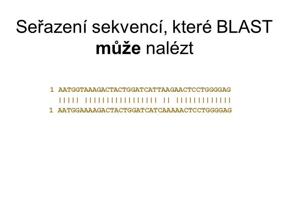 Seřazení sekvencí, které BLAST může nalézt