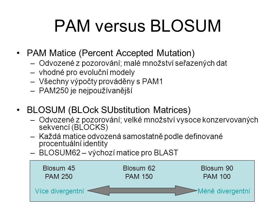 PAM versus BLOSUM PAM Matice (Percent Accepted Mutation)