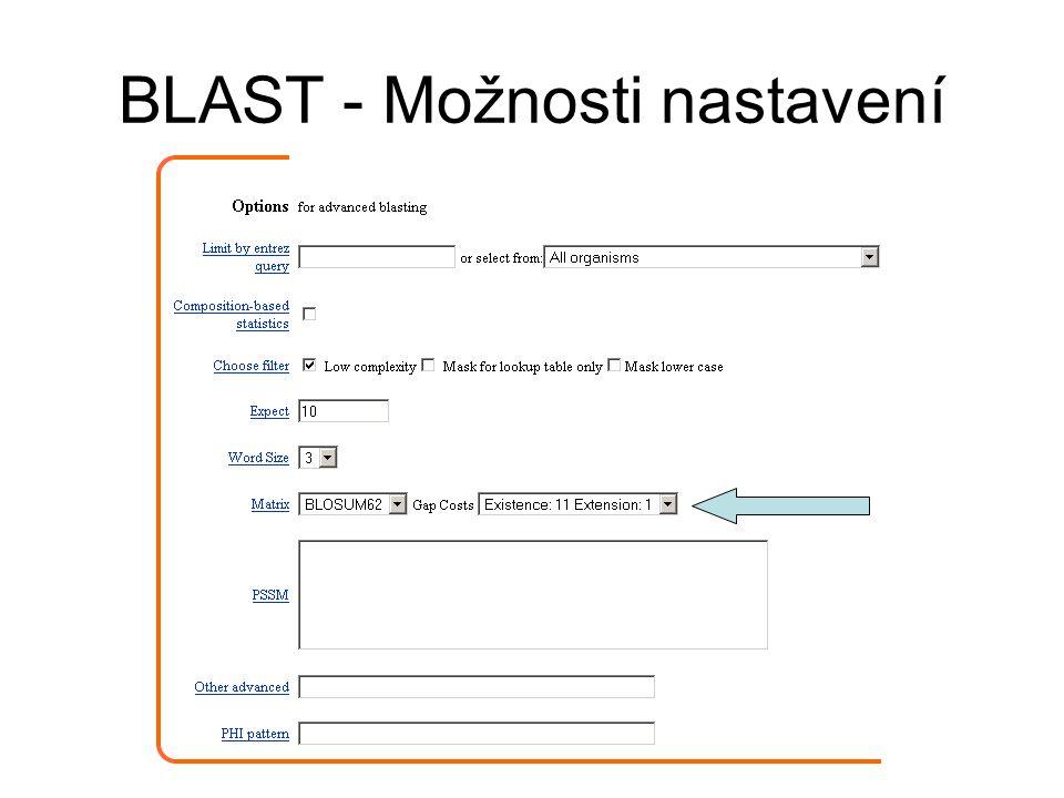 BLAST - Možnosti nastavení