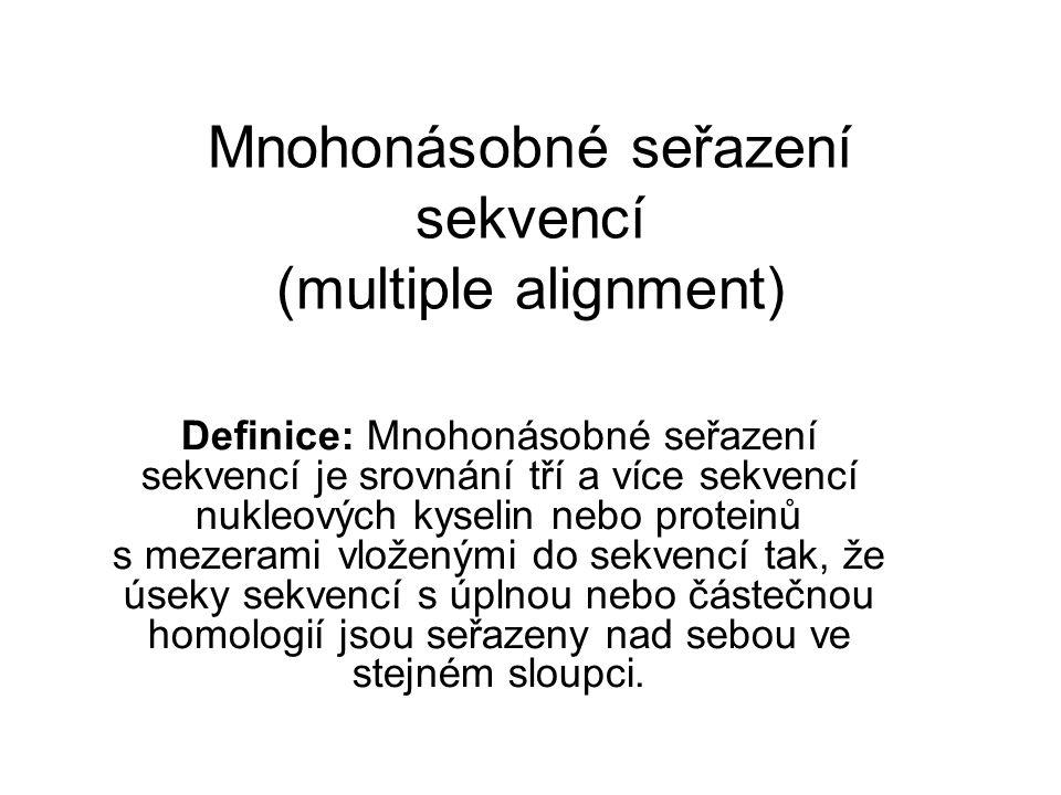 Mnohonásobné seřazení sekvencí (multiple alignment)