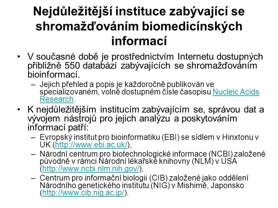 Nejdůležitější instituce zabývající se shromažďováním biomedicínských informací