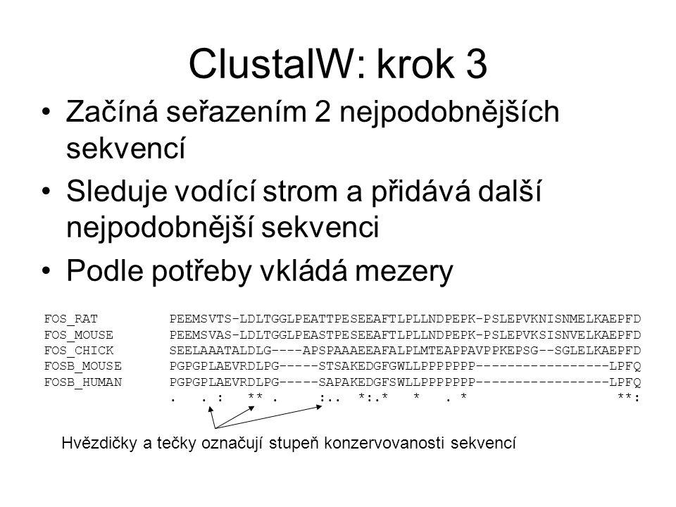 ClustalW: krok 3 Začíná seřazením 2 nejpodobnějších sekvencí