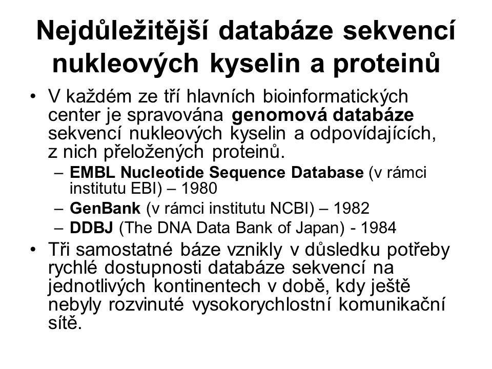 Nejdůležitější databáze sekvencí nukleových kyselin a proteinů