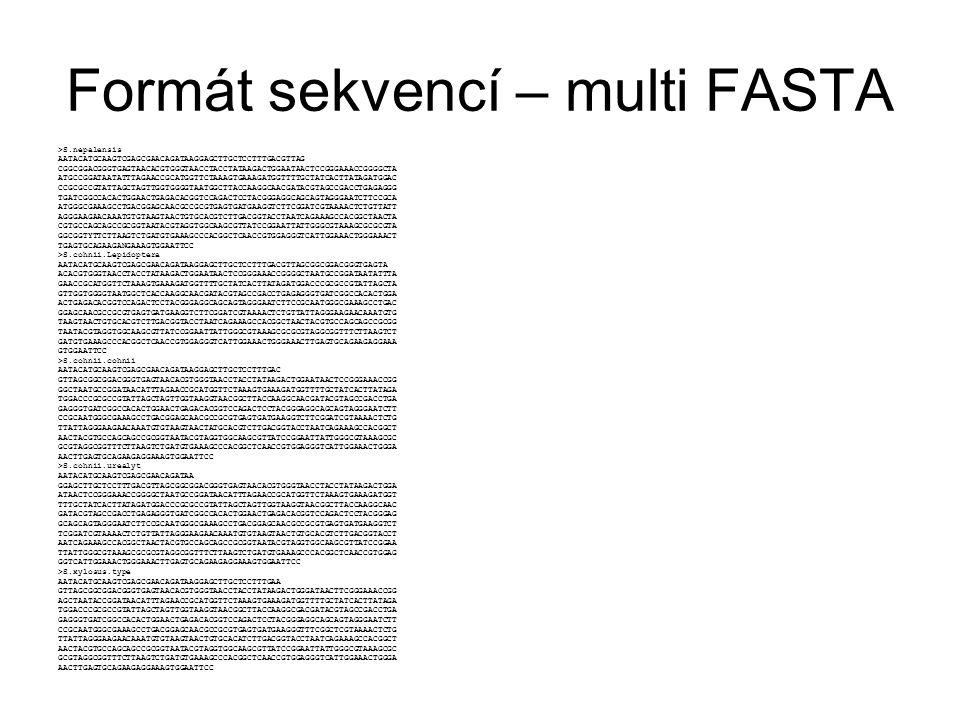 Formát sekvencí – multi FASTA