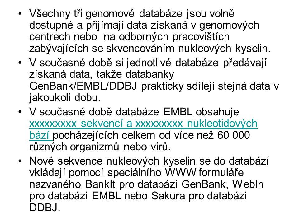 Všechny tři genomové databáze jsou volně dostupné a přijímají data získaná v genomových centrech nebo na odborných pracovištích zabývajících se skvencováním nukleových kyselin.
