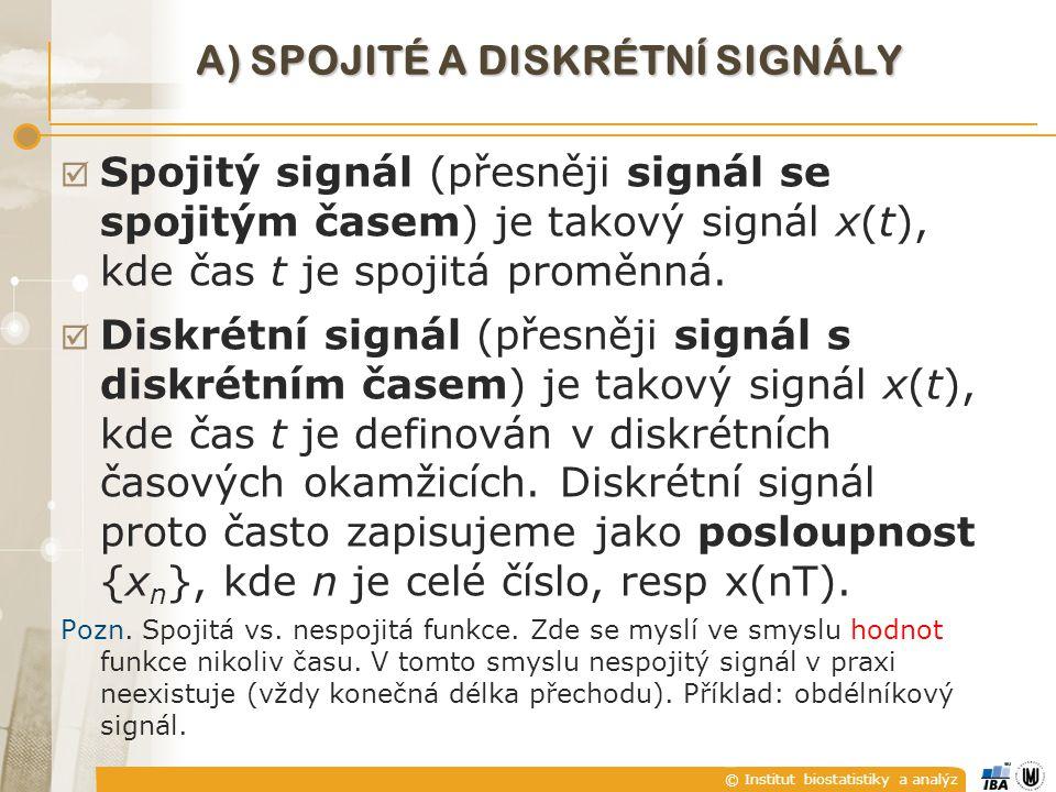A) Spojité a diskrétní signály