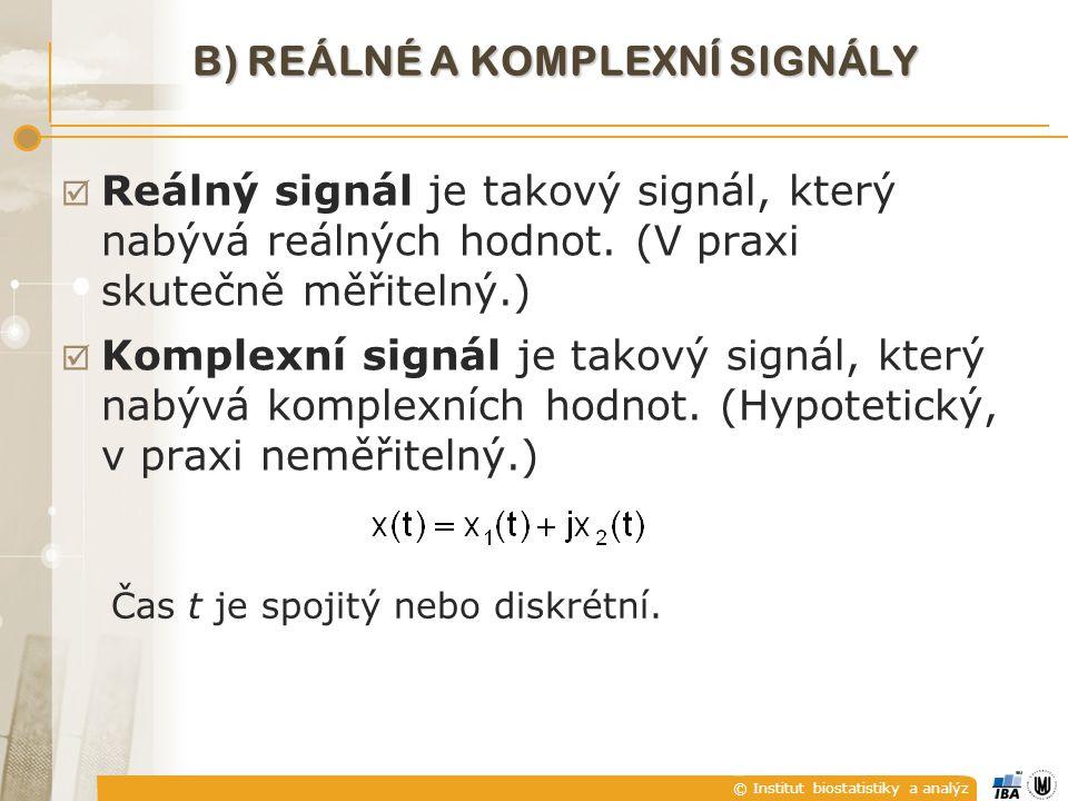 B) Reálné a komplexní signály