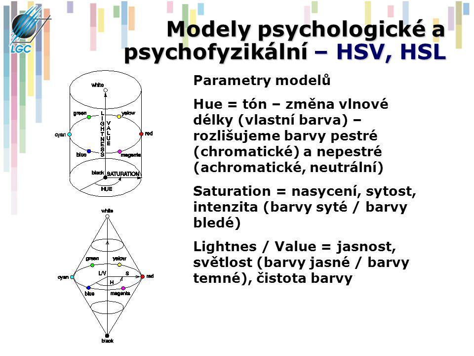 Modely psychologické a psychofyzikální – HSV, HSL