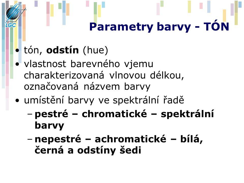 Parametry barvy - TÓN tón, odstín (hue)