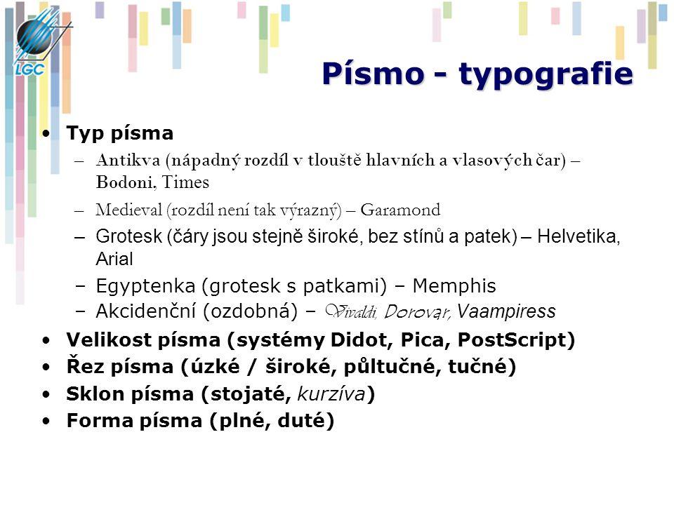 Písmo - typografie Typ písma