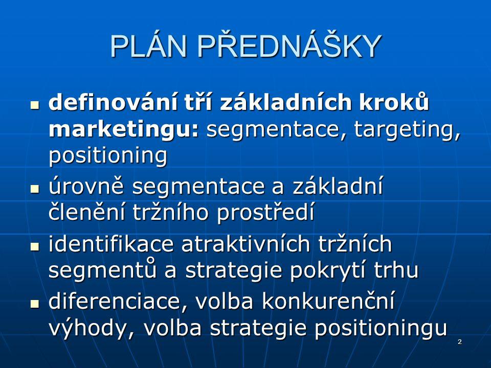 PLÁN PŘEDNÁŠKY definování tří základních kroků marketingu: segmentace, targeting, positioning.