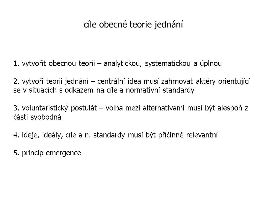 cíle obecné teorie jednání