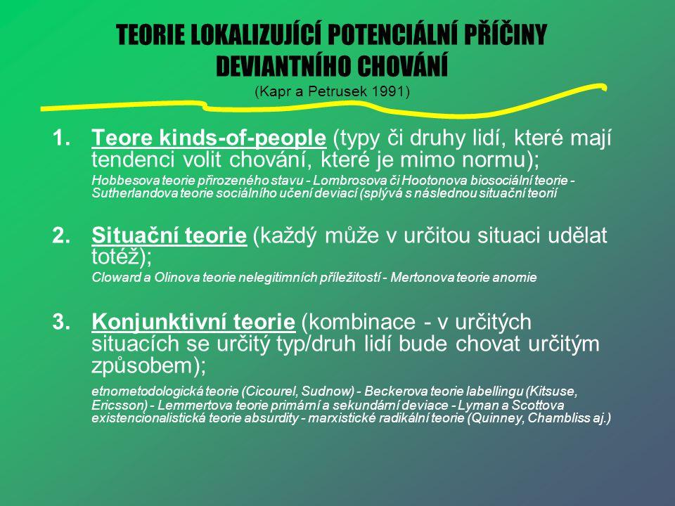 TEORIE LOKALIZUJÍCÍ POTENCIÁLNÍ PŘÍČINY DEVIANTNÍHO CHOVÁNÍ (Kapr a Petrusek 1991)