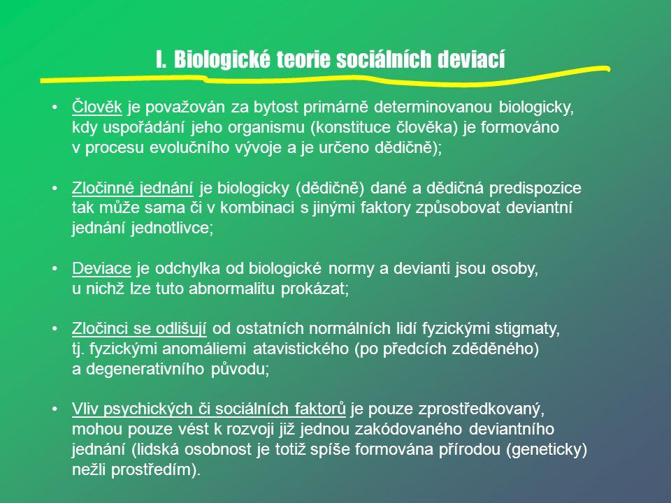I. Biologické teorie sociálních deviací