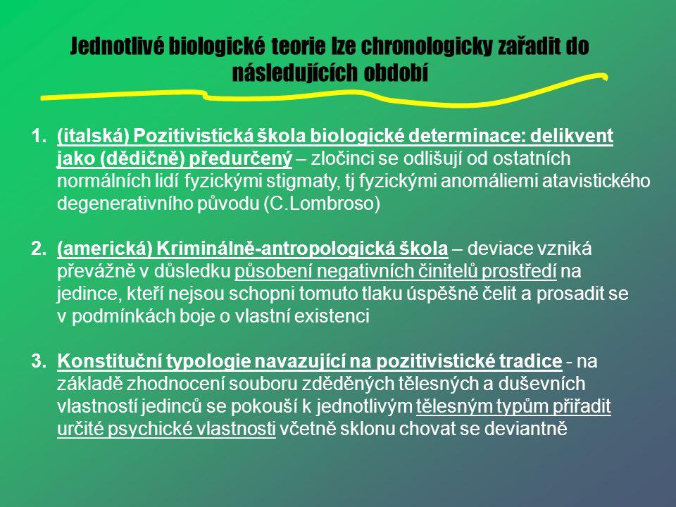 Jednotlivé biologické teorie lze chronologicky zařadit do následujících období