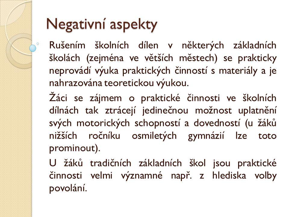 Negativní aspekty