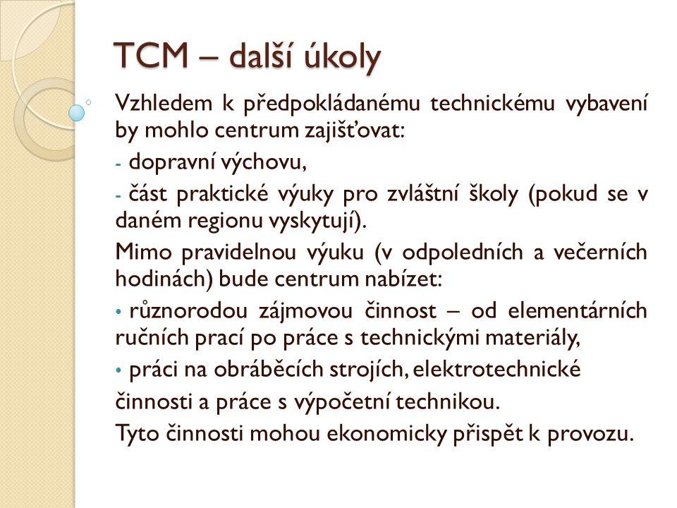 TCM – další úkoly Vzhledem k předpokládanému technickému vybavení by mohlo centrum zajišťovat: dopravní výchovu,