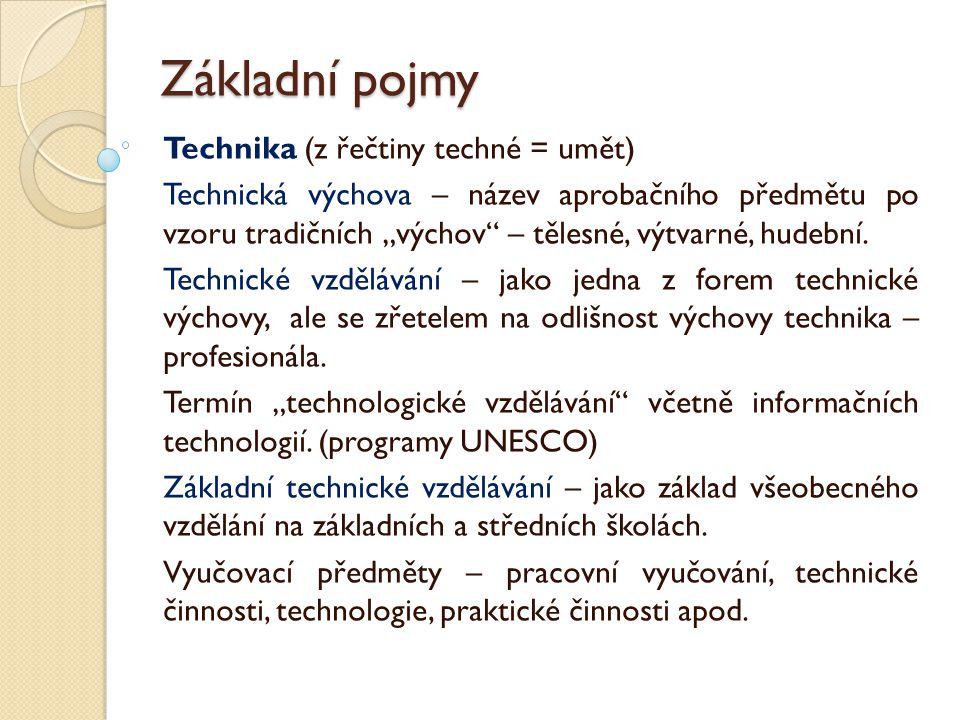 Základní pojmy Technika (z řečtiny techné = umět)