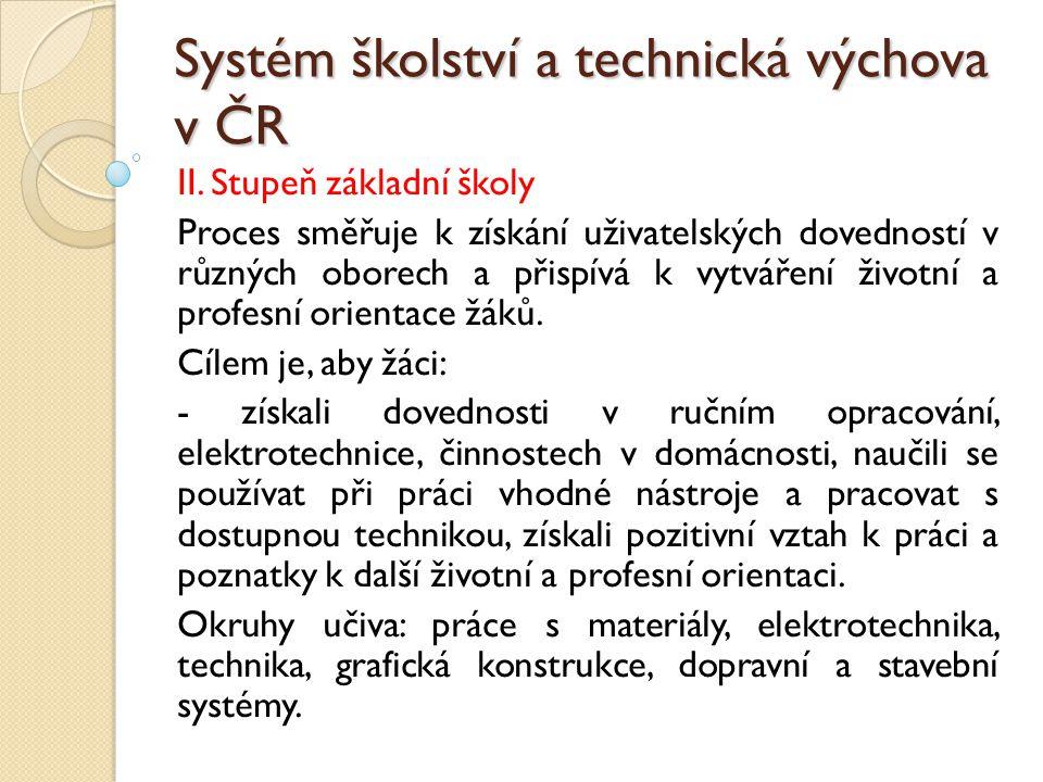 Systém školství a technická výchova v ČR