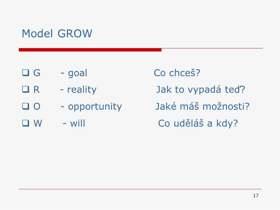 Model GROW G - goal Co chceš R - reality Jak to vypadá teď