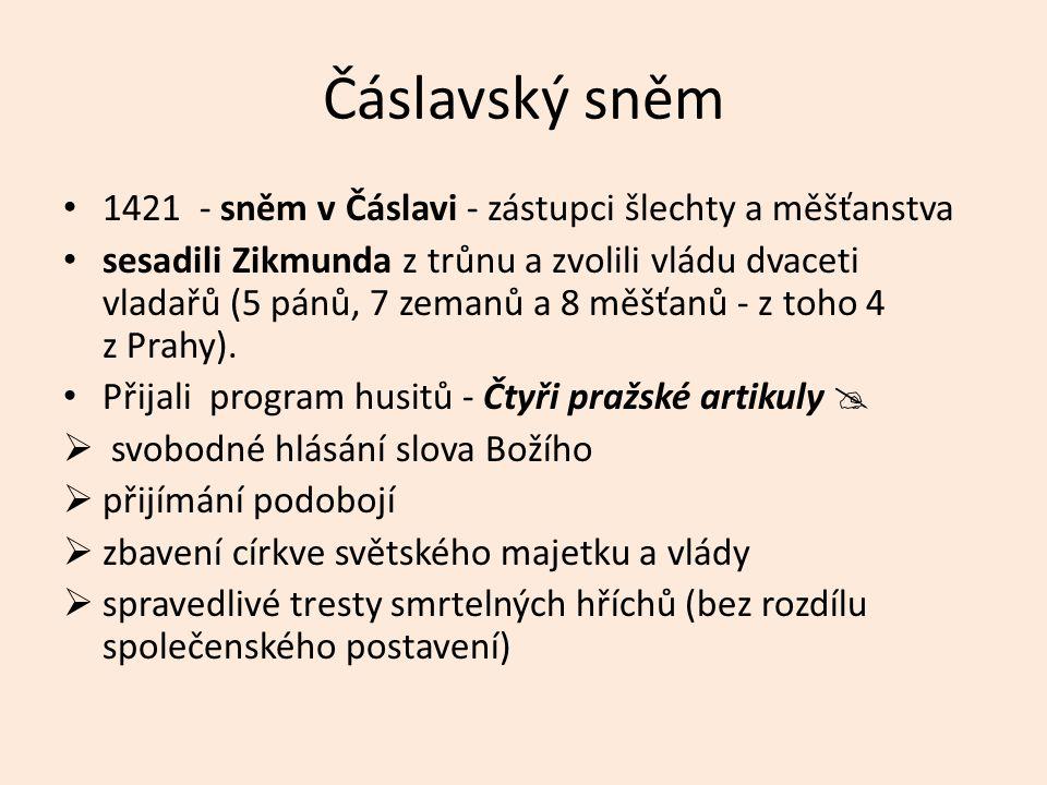 Čáslavský sněm 1421 - sněm v Čáslavi - zástupci šlechty a měšťanstva