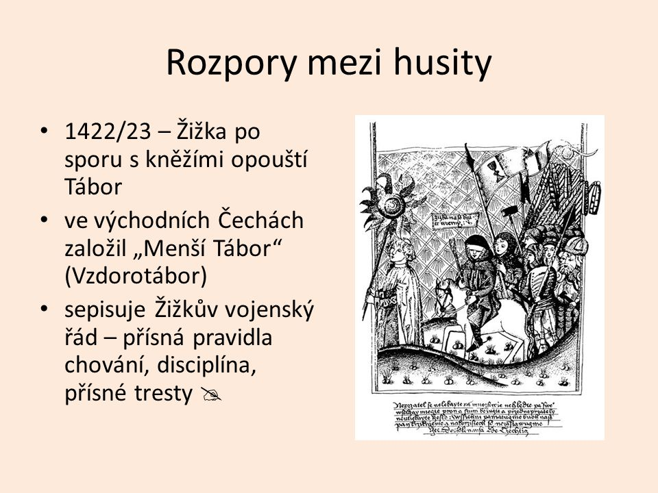 Rozpory mezi husity 1422/23 – Žižka po sporu s kněžími opouští Tábor