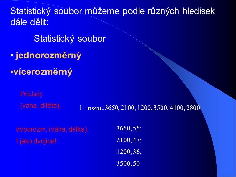 Statistický soubor můžeme podle různých hledisek dále dělit: