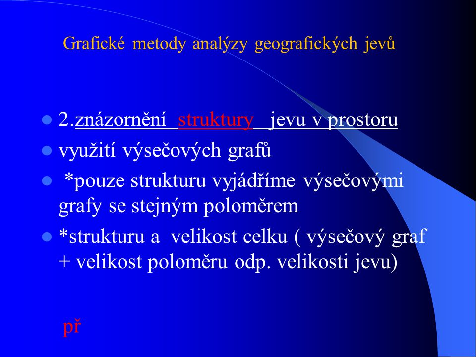 2.znázornění struktury jevu v prostoru využití výsečových grafů