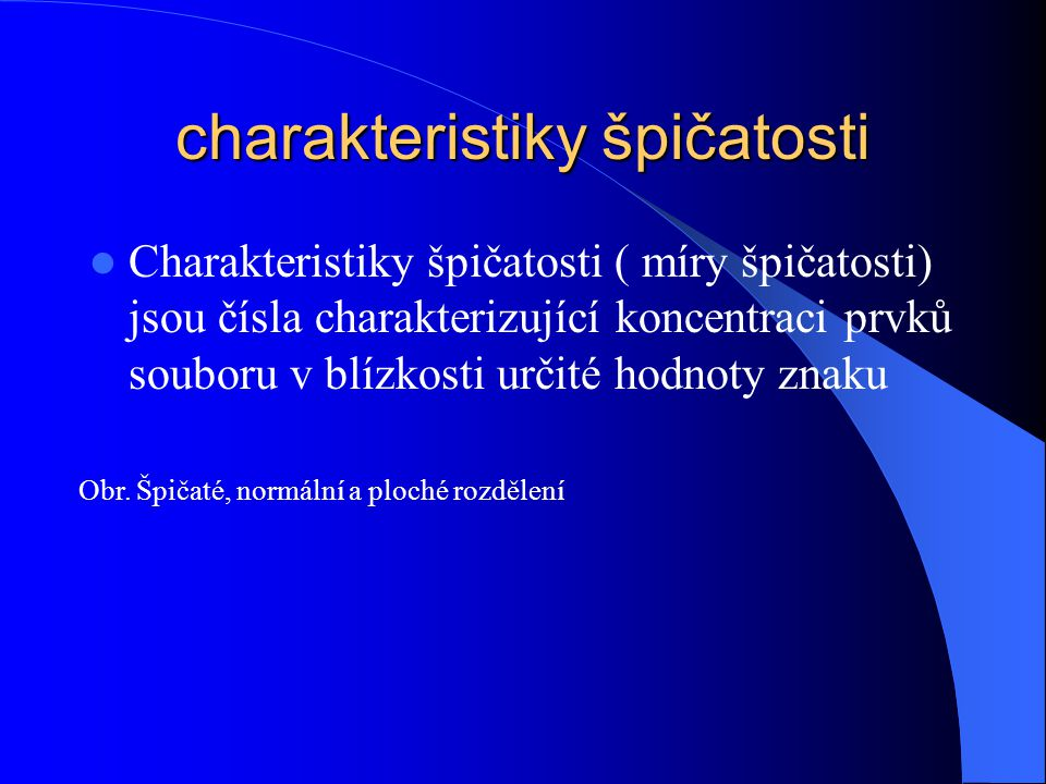charakteristiky špičatosti