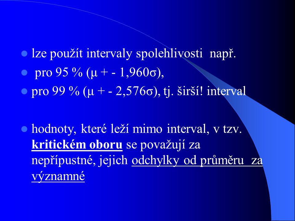 lze použít intervaly spolehlivosti např.