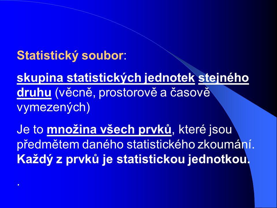 Statistický soubor: skupina statistických jednotek stejného druhu (věcně, prostorově a časově vymezených)