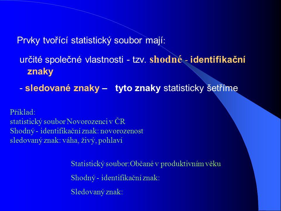 Prvky tvořící statistický soubor mají:
