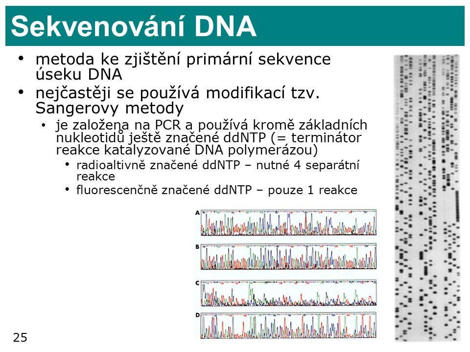 Sekvenování DNA metoda ke zjištění primární sekvence úseku DNA