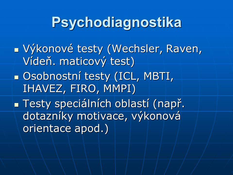 Psychodiagnostika Výkonové testy (Wechsler, Raven, Vídeň. maticový test) Osobnostní testy (ICL, MBTI, IHAVEZ, FIRO, MMPI)